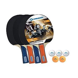 Donic-Schildkröt Tischtennis-Set Hobby, für 4 Spieler (4 Schläger, 5 Bälle, in Tragetasche, gute Freizeitqualität), 788603