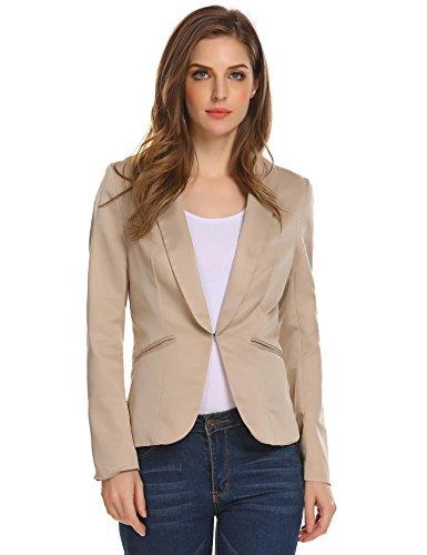 Damen Klassischer Blazer Tailliert mit Reverskragen Kurze Jacke Kurzblazer Kurzjacke Business Blazer Khaki 36 (Polyester 100% Blazer)
