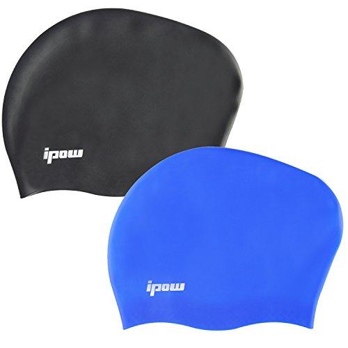 Ipow 2 gruppi di migliore cuffia nuoto impermeabile in silicone per nuotare con una maggiore durata altamente elastico & Grande qualità eco-amichevole, migliore elasticitò per capelli lunghi, spessi o ricci. Nero e blu.