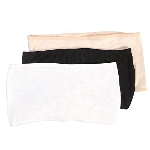 LUOEM Frauen weiche elastische trägerlosen Bandeau Tube Tops keine Pad Brust Wraps Einheitsgröße (schwarz weiss Akt) (Bandeau Weiche)