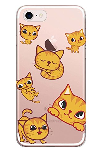 Blitz® GIRLY Schutz Hülle Transparent TPU Cartoon Comic iPhone  sleeping cute Cats M16 iPhone X sleeping cute Cats M16