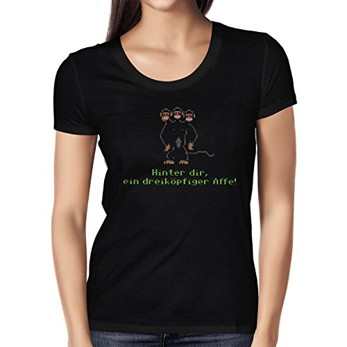 NERDO - Dreiköpfiger Affe - Damen T-Shirt Schwarz