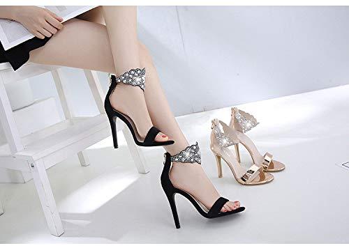 GSHGA ShoesSexy Sandale Modell T Plattform High Heels europäischen und amerikanischen Strass Stiletto Schuhe Plain Toe Slip
