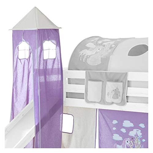 IDIMEX Turm Spielturm PRINZESSIN zu Hochbett Spielbett Kinderbett Rutschbett