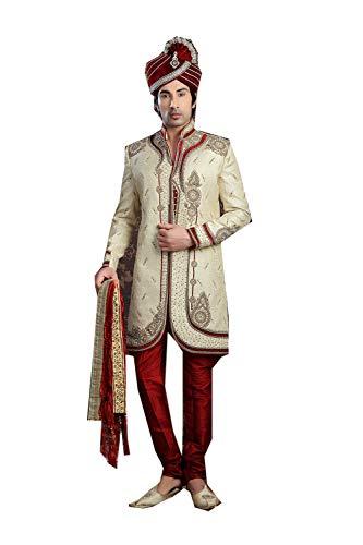 Da Facioun Indian Designer Partywear Traditional Ethnic Cream Mens Wear Sherwani. -