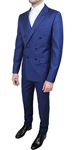 Abito completo alta sartoria uomo doppiopetto blu vestito elegante cerimonia