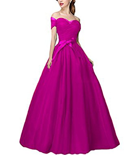 Vickyben Damen langes Alinie AbSchulter Tuell Prinzessin Kleid Abendkleid  Ballkleid Brautjungfer kleid Party kleid mit Guertel Fuchsie