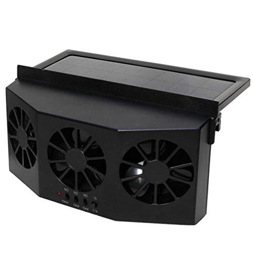 Car Heater Solar Powered Abluftventilator Autofenster Windschutzscheibe Faltfächer Auto Air Vent Cooler Auto Lüftung Fan Dual-Mode-Netzteil,Black