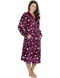 Forever Dreaming Womens Flannel Fleece Hooded Dressing Gown - Star Print  Knee Length Robe 3e50bfba3