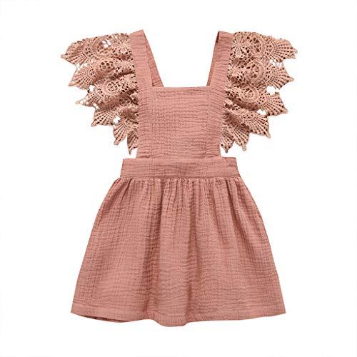 Hokoaidel Mädchen Prinzessin Spitzekleid Sommer Einfarbig Minikleid Sommer Kurze Ärmel Baby Kinder Baby mädchen Kleid Freizeit Party Kleinkind Kleider
