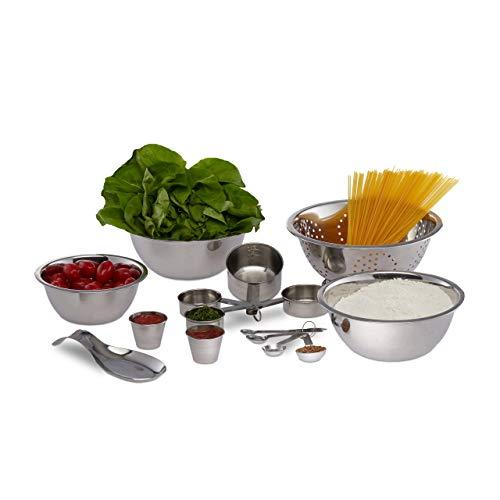 Relaxdays Küchen Set 15-tlg., Rührschüsseln, Nudelsieb, Messbecher, metrische und US Maße, stapelbar, Edelstahl, silber (Und Rührschüssel Messbecher-set)