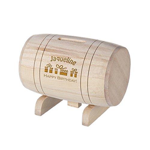 polar-effekt Spardose aus Holz - Sparbüchse Form Fass mit Gravur - Geschenk für jeden Anlass - Motiv Happy Birthday