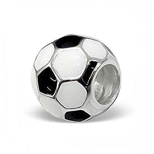 Nero-bianco & pallone da calcio, in argento sterling con perle, formato famiglia stile pandora-charm per braccialetti con perline