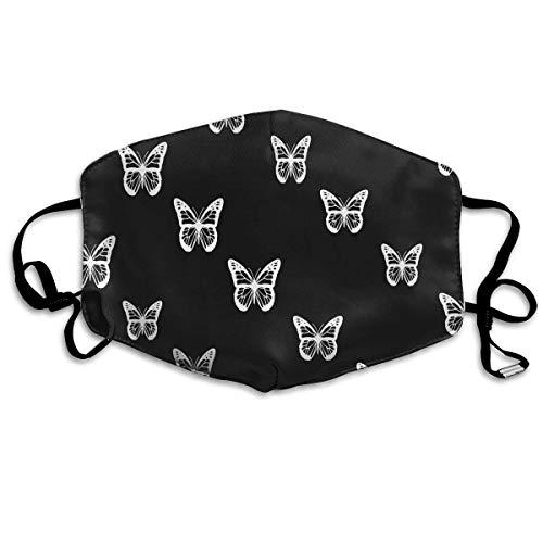 llution Mask Black White Butterflies Reusable Washable Earloop Face Mouth Mask for Men Women ()