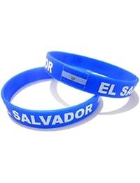 Unisex País Bandera nacional de silicona pulsera de goma de moda pulsera brazalete (El Salvador