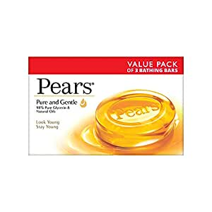 Pears Moisturising Bathing Bar Soap with Glycerine Pure & Gentle For Golden Glow 125g (Pack of 3)