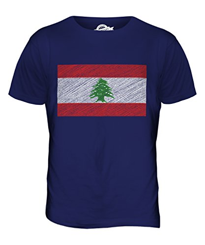 CandyMix Libanon Kritzelte Flagge Herren T Shirt Navy Blau