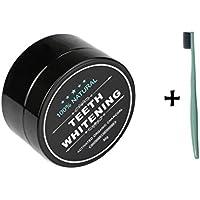 LONUPAZZ poudre de blanchiment des dents au charbon actif naturel dent blanche dentifrice de bambou+ brosse à dents