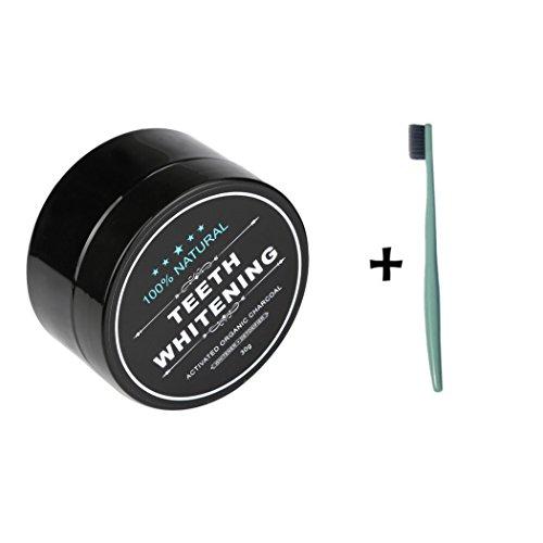 LONUPAZZ poudre de blanchiment des dents au charbon actif naturel dent blanche dentifrice de bambou+...