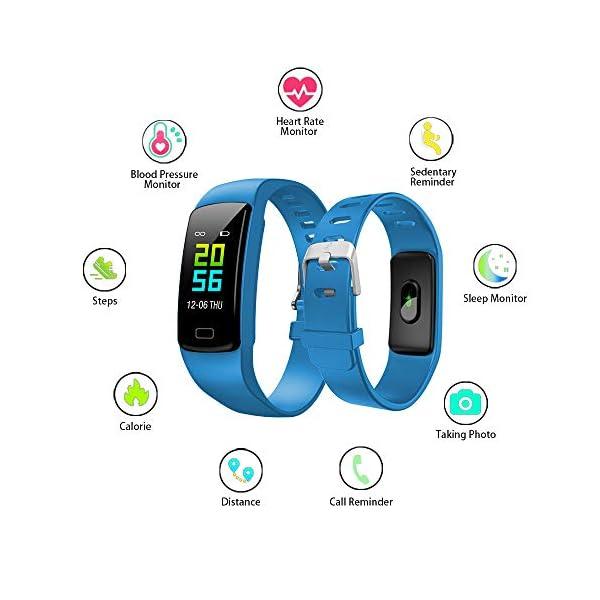 Pulsera de Actividad Inteligente Impermeable IP67 con 8 Modos de Deporte,Pulsera Inteligente con Pulsómetro, Blood Pressure, Sueño,Podómetro,Pulsera Deporte para Android y iOS Teléfono móvil 9