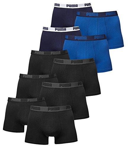 PUMA Herren Boxershorts Unterhosen 521015001 10er Pack , Wäschegröße:M, Artikel:3x black / 2x true blue True Black Jeans