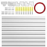 Kabelkanal, 320 cm PVC Kabelabdeckung, Kit Auf-Wand-Kabel-Management-Kanal für alle Netzkabel in Haushalt / Büro, Elektrogeräte, wie TV, Computer, Stehlampe usw. - 8 Stück x L40 cm * W2,5 cm * H 1,5 cm, Weiß (Sprühfarbe verfügbar)