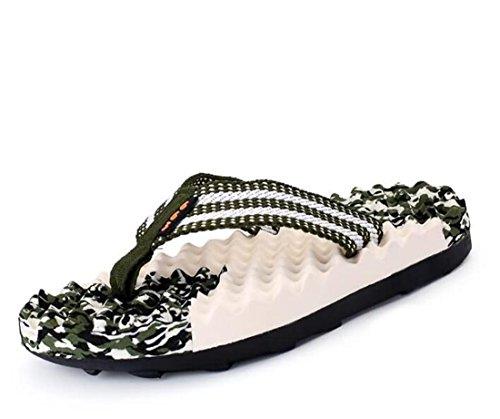 Tlip-flop Massage Thongs Pantoufles Style de plage Ventiler Comforty Chintillons Chaussons pliants confortables Taille de l'UE 40-44 Green