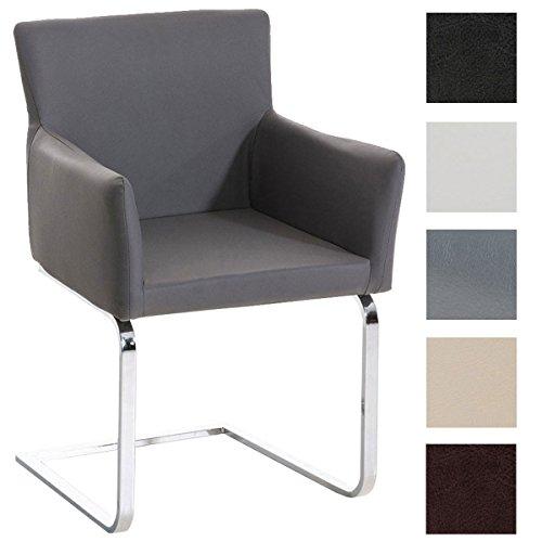 CLP Freischwinger PIRUS mit Armlehne und hochwertiger Sitzpolsterung I Konferenzstuhl mit Kunstlederbezug und Metallgestell in Chrom-Optik Grau