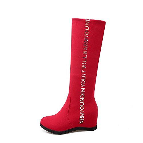 AgooLar Damen Rund Zehe Hoher Absatz Mitte-Spitze Gemischte Farbe Stiefel Rot