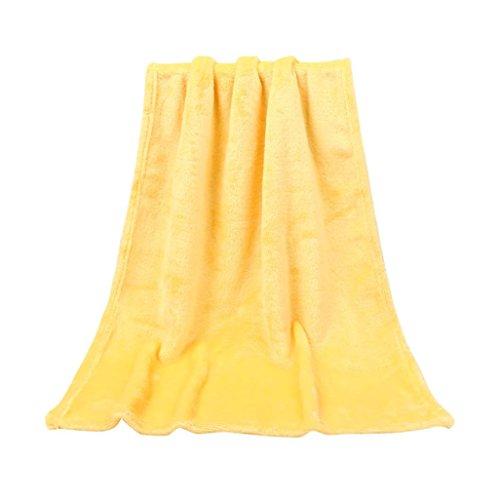 LILICAT Kuscheldecke TV-Decke Wohndecke Fleecedecke Sofadecke Klimaanlage Babydecke Decke flauschig warm kuschelig Coral Fleece Mikrofaser Schmusedecke Tagesdecke (50X70CM, Gelb) (Gelb-decken)