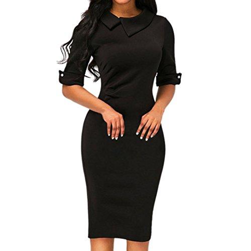 Kleider Damen Dasongff Damen Schlankes Bleistiftkleid Retro Bodycon Kleider Revers 1/2Ärmel Business Kleid Elegant Abendkleid Etuikleid Pencil Kleid mit Rücken Reißverschluss (XL, Schwarz) (Hahnentritt-kragen)