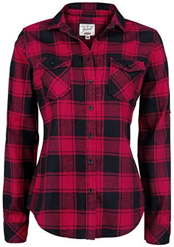 flanellhemd rot schwarz kariert Brandit Amy Flanell Checkshirt Girl-Hemd schwarz/rot - 2XL