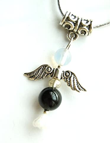 Black Tourmaline Crystal Guardian Angel Pendant on Silver Cord -