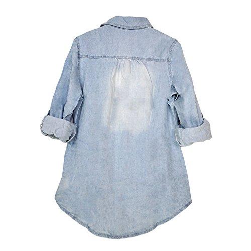 LAEMILIA Chemisier Femme Automne Longues Manches Casual Slim Jeans Denim Bouton Vintage Tops Shirts Clair