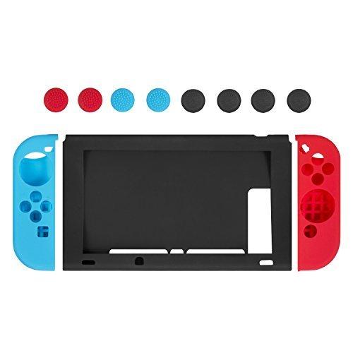 Funda de Silicona para Nintendo Switch, Keten Protector Antideslizante de Silicona Para Mandos Joy-Con de Nintendo Switch (Rojo/Azul), Tapas Joystick y Cubierta Protectora de Silicona Para Consola