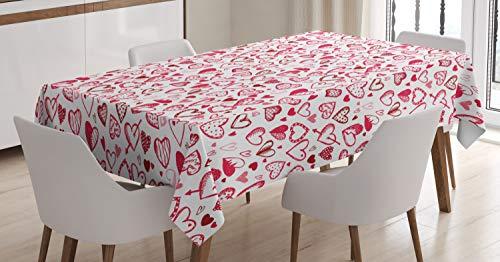 Abakuhaus san valentino tovaglia, sketch stile cuori, antimacchia stampata con la tecnologia all'avanguardia lavabile, 140 x 200 cm, rubino rosa bianco