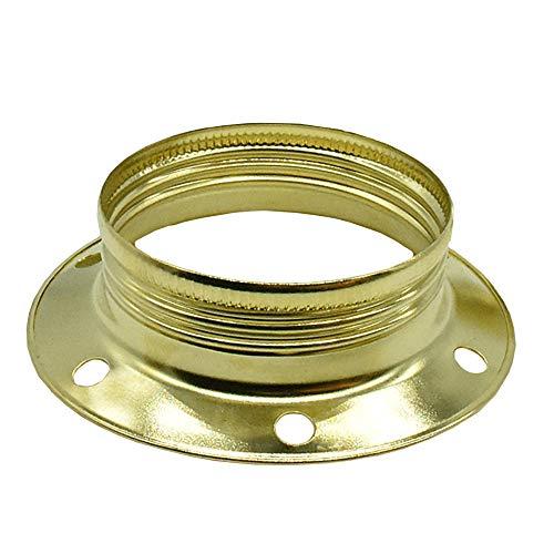 3 Stück Schraubring E27 Metall messingfarben für Lampen-Fassung Ring d.60 H.17,6mm für Lampen-Schirm oder Glas-Elemente -