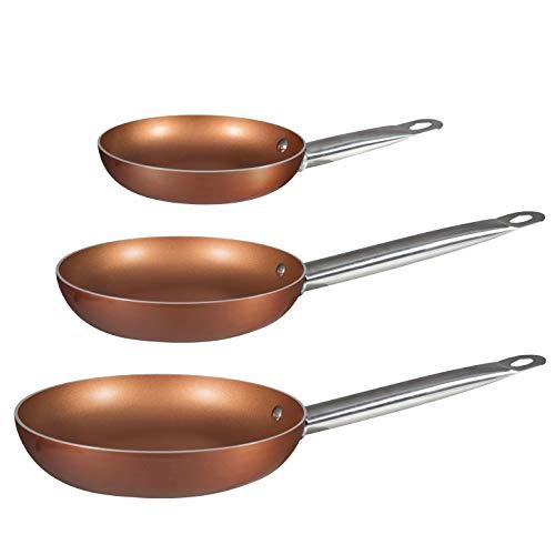 BERGNER Q2410 -  Set 3 sartenes 20, 24, 28 aluminio prensado Professional Chef Copper plus