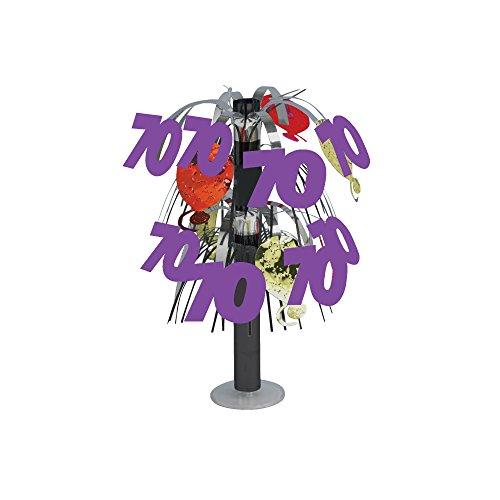 Creative Converting 261053 Mini-Folien-Tischdekoration zum 70. Geburtstag, Silber/Violett