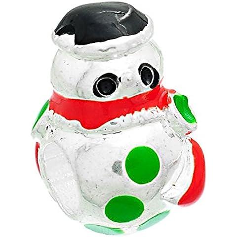 SEXY SPARKLES-Pupazzo di neve con cappello di Natale-Charm distanziatore compatibile con la maggior parte dei bracciali con catena a