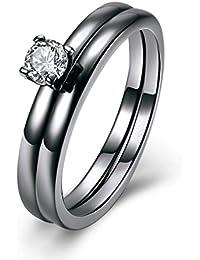 YAZILIND 18 k negro chapado en oro blanco cubic zirconia eternidad 2 capas de banda de baile de boda populares…