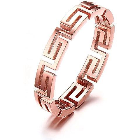 Vnox Acciaio inossidabile delle donne Hollow lineare greco modello BAND filigrana dell'anello di cerimonia nuziale in oro rosa,4mm
