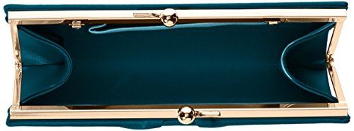 Swanky Swans - Mira Satin Classic Frame Bag, Pochette da giorno Donna Verde (Teal)
