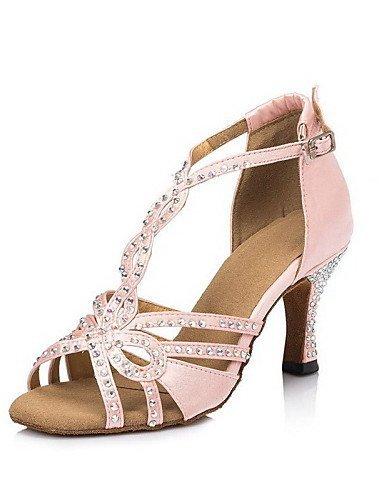 ShangYi Chaussures de danse ( Noir / Rose ) - Non Personnalisables - Talon Bobine - Satin - Latine Black