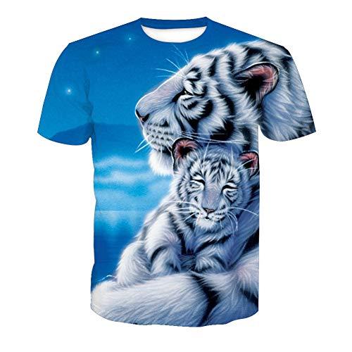 SPONSOKT Klassisch Männer T-Shirt,weißer Tiger Muster 3D Digitales Drucken Casual Kurze Ärmel T-Stück,Rundhals Atmungsaktiv Trend Unterhemd Jugend Sport / A1 / XXXL -
