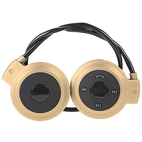 LJSHU Drahtloser Bluetooth Kopfhörer, der Stereokopfhörer, Bluetooth V4.0 + Karte + FM Triple Hängt,Gold Gold-triple-kabel