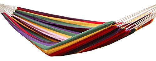 AMANKA XXL 2 Personen Hängematte Regenbogen Bunt Gestreift 400x160cm Belastbarkeit bis 150 KG 100% Baumwolle Mehrpersonen Hängematten