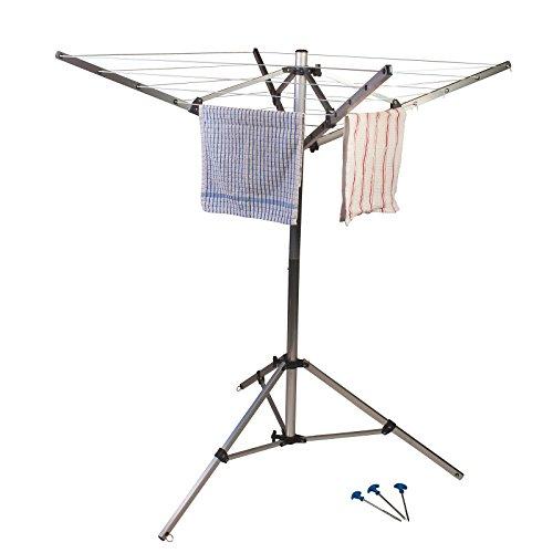 Siehe Beschreibung 4 armige Wäschespinne aus Aluminium mit Stativgestell inklusive Befestigungshaken • Stand Wäschetrockner Trockenleine Wäscheständer Camping Balkon