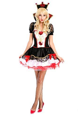 Fanessy. Queen of Hearts Kostüm Rote Königin Kostüm Alice im Wunderland Damen Königin Kleid mit Krone Erwachsene Verkleidung Cosplay Outfits für Fasching Halloween Karneval - Queen Of Hearts Kostüm Für Erwachsene