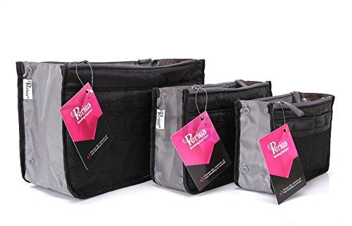 Periea - Organiseur de sac à main, 12 Compartiments - Chelsy (Noir, Petit: H15 x L22 x P2-10cm)